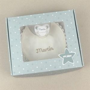 Cajita babero y chupete personalizados mi pipo mordisquitos recién nacido