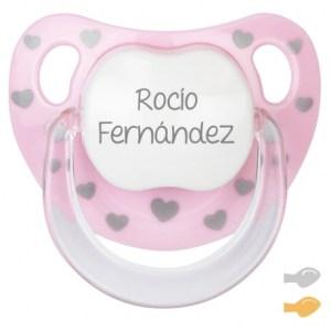 Chupete personalizado baby chic mi pipo mordisquitos rosa corazones