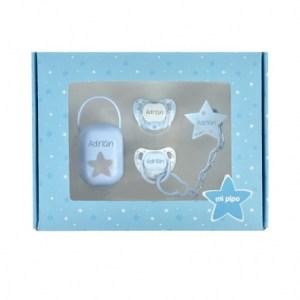 Canastilla mis imprescindibles mi pipo mordisquitos chupete personalizado broche cajita portachupete regalo recién nacido