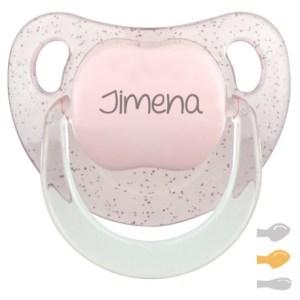 Chupete personalizado baby glitter purpurina con nombre mi pipo mordisquitos