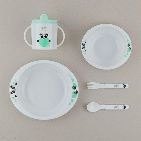 Vajilla panda personalizada para bebés y niños