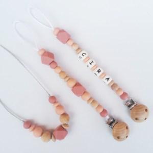 Canastilla regalo bebé y mamá mordisquitos collar de lactancia chupetero personalizado silicona