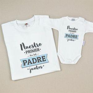 Pack prendas adulto y bebé nuestro primer día del padre regalo papa mama