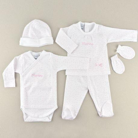Babidu set de cinco piezas primera puesta bebé personalizada mi pipo mordisquitos