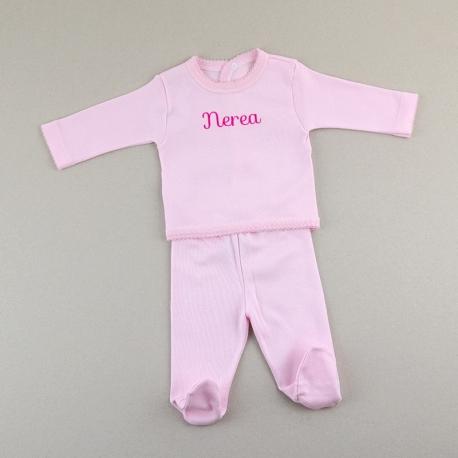 Babidu set de dos piezas primera puesta bebé personalizada mi pipo mordisquitos