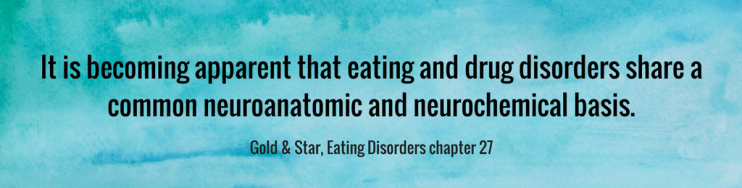 "It is becoming apparent that eating and drug disorders share a common neuroanatomic and neurochemical basis,"" conclude two experts on addiction and related disorders."