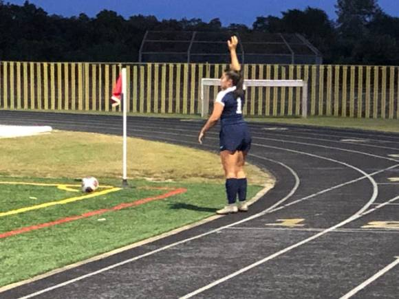 Toms River North's Faith Wavershak (1) gets ready to perform a corner kick against Brick Memorial on Monday, Sep. 27, 2021.