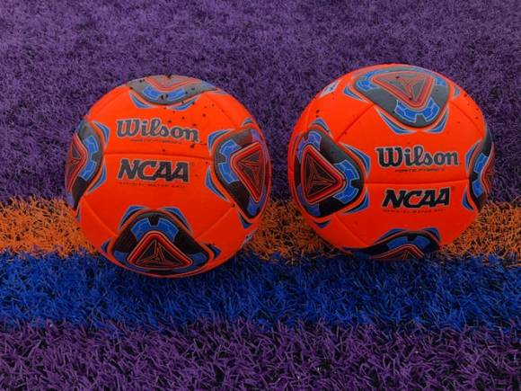 Two girls soccer balls sit on the turf.