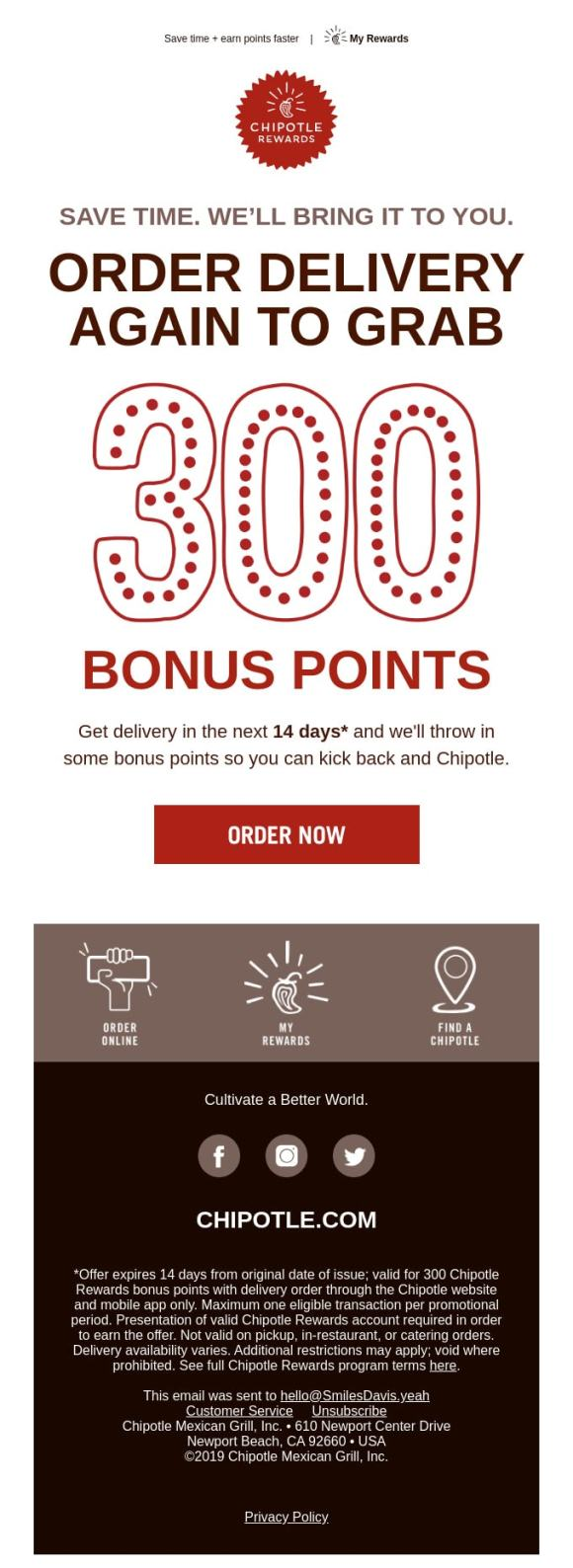 Email Design from Chipotle