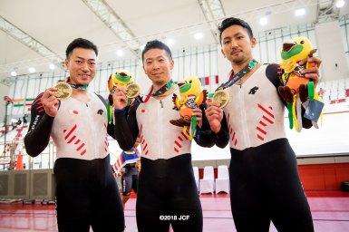 男子チームスプリント(雨谷一樹/新田祐大/深谷知広)が銅メダル/アジア大会2018
