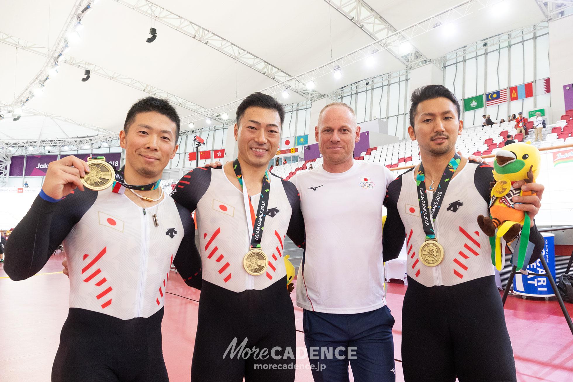 2018アジア大会男子チームスプリント表彰