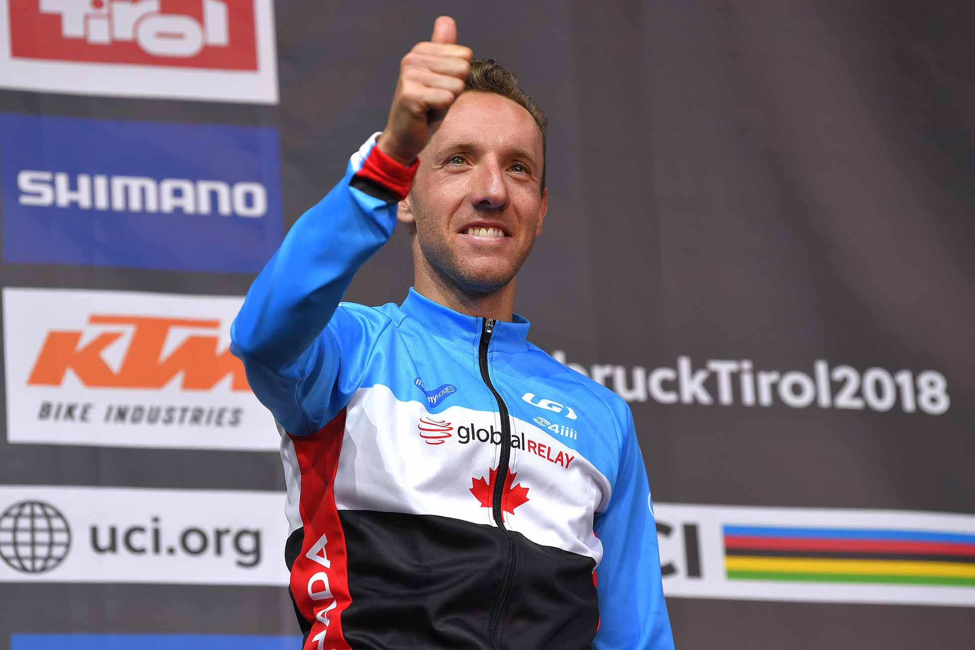 INNSBRUCK, AUSTRIA - SEPTEMBER 30: Podium / Michael Woods of Canada Bronze Medal / Celebration / during the Men Elite Road Race a 258,5km race from Kufstein to Innsbruck 582m at the 91st UCI Road World Championships 2018 / RR / RWC / on September 30, 2018 in Innsbruck, Austria. (Photo by Tim de Waele/Getty Images)
