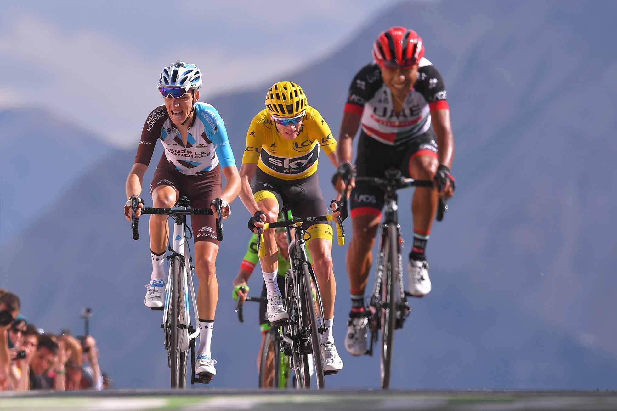 Cycling: 104th Tour de France 2017 / Stage 18 Arrival / Romain BARDET (FRA)/ Christopher FROOME (GBR) Yellow Leader Jersey / John Darwin ATAPUMA (COL)/ Briancon - Izoard-Col d'Izoard 2360m (179,5km)/ TDF / (Photo by Tim de Waele/Corbis via Getty Images)