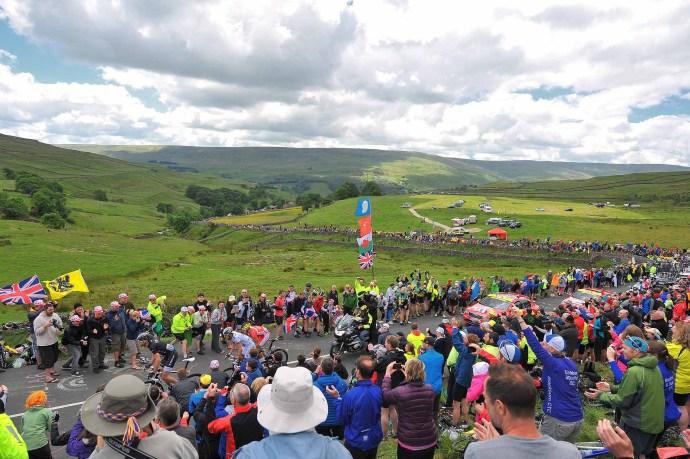 Cycling: 101th Tour de France / Stage 1 Illustration Illustratie / VOIGT Jens (GER)/ EDET Nicolas (FRA)/ JARRIER Benoit (FRA)/ Cote de Buttertubs (532m) Mountains Montagnes Bergen / Public Publiek Spectators Fans Supporters / Landscape Paysage Landschap / Leeds - Harrogate (190,5Km)/ Ronde van Frankrijk TDF Etape Rit (c) Tim De Waele (Photo by Tim de Waele/Corbis via Getty Images)