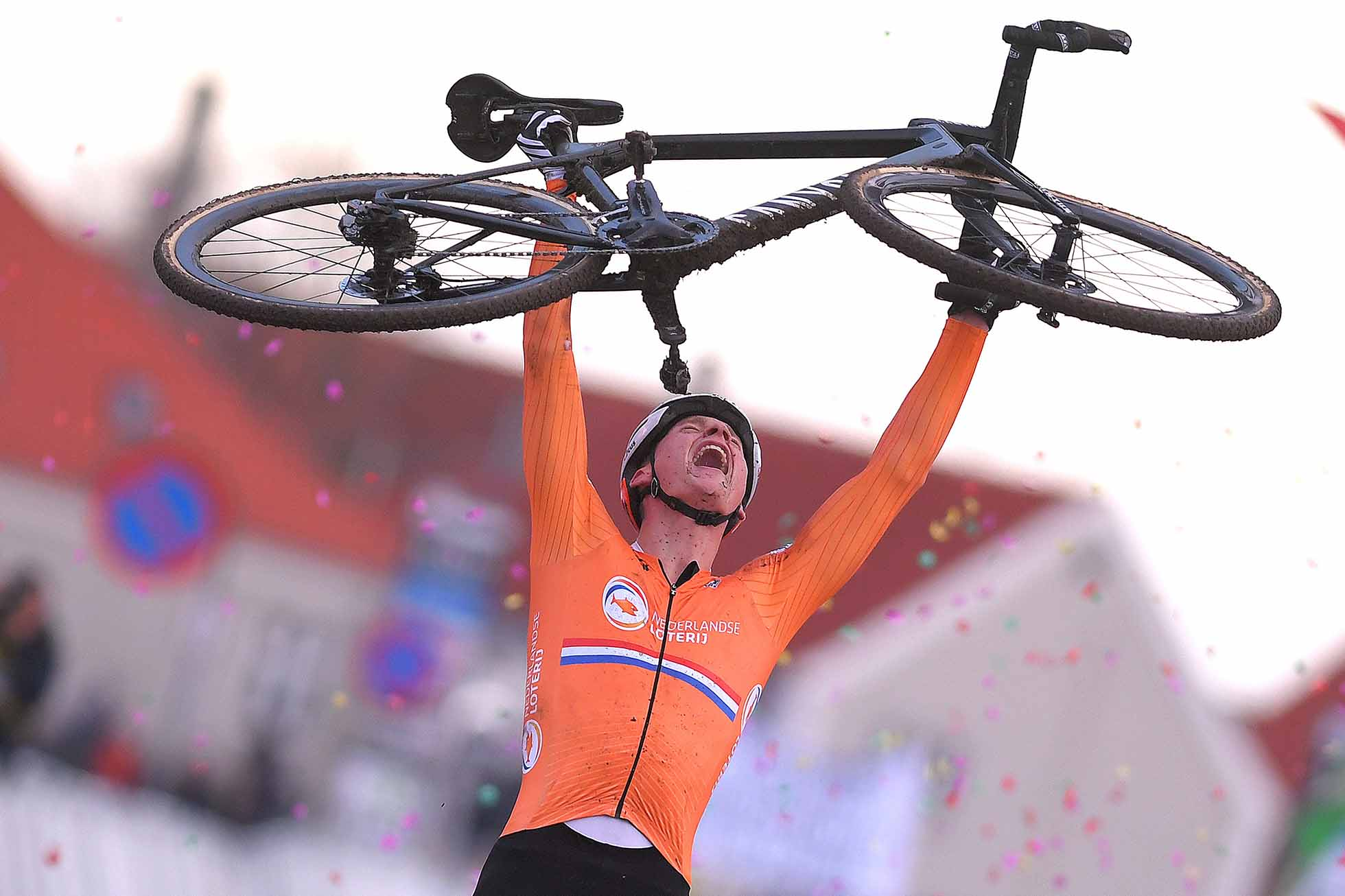 BOGENSE, DENMARK - FEBRUARY 03: Arrival / Mathieu Van Der Poel of The Netherlands and Team The Netherlands / Celebration / during the 70th Cyclo-cross World Championships Bogense 2019, Men Elite / Cross Denmark / @Bogense2019 / on February 3, 2019 in Bogense, Denmark. (Photo by Luc Claessen/Getty Images)
