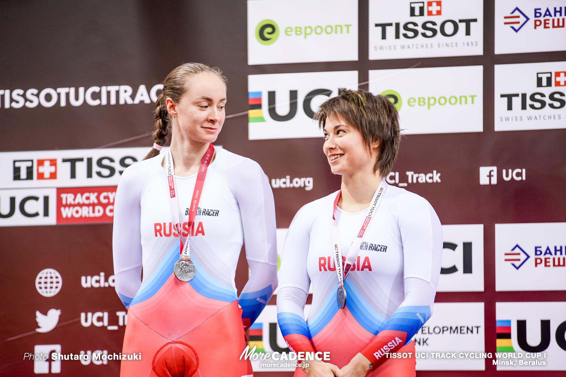 Russia (Ekaterina Gnidenko, Natalia Antonova), Final / Women's Team Sprint / TISSOT UCI TRACK CYCLING WORLD CUP I, Minsk, Beralus