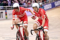 Lasse Norman Hansen and Michael Morkov of Denmark compete during Men's Madison during day 5 of the UCI Track Cycling World Championships Berlin at Velodrom on March 01, 2020 in Berlin, Germany.