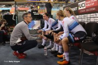 LONDON, ENGLAND - DECEMBER 14: Paul Manning, Coach of Great Britain(L) chats to the Great Britain Womens Team Pursuit Team prior to their ride during day One of the 2018 TISSOT UCI Track Cycling World Cup at Lee Valley Velopark Velodrome on December 14, 2018 in London, England. (Photo by Bryn Lennon/Getty Images)