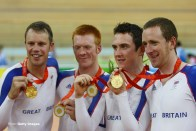 BEIJING - AUGUST 18: Gold medalists Paul Manning, Ed Clancy, Geraint Thomas and Bradley Wiggins of Great Britain celebrate after the Men's Team Pursuit Finals at the Laoshan Velodrome on Day 10 of the Beijing 2008 Olympic Games on August 18, 2008 in Beijing, China. (Photo by Mike Hewitt/Getty Images)