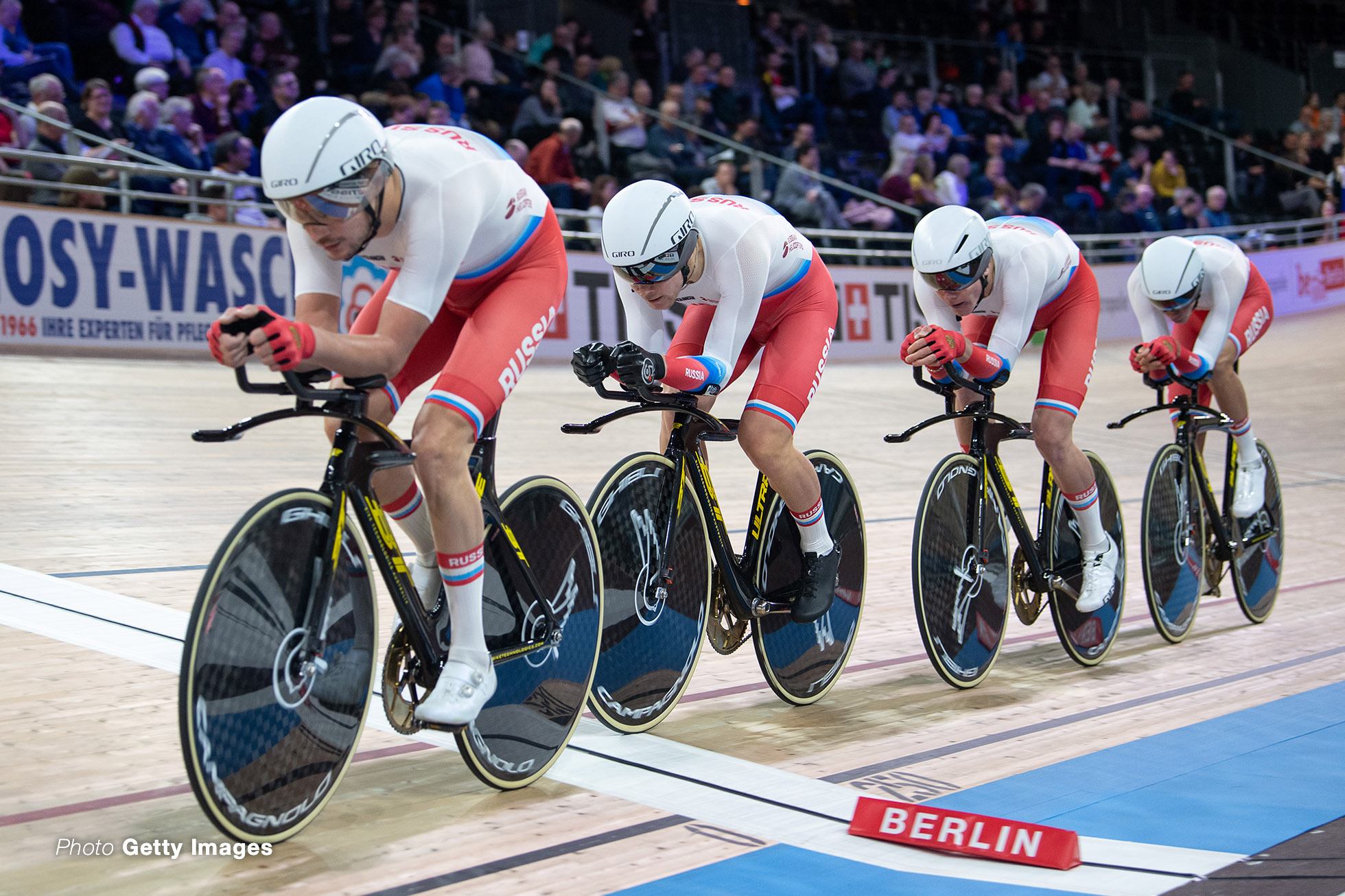 26 February 2020, Berlin: Cycling/track: World Championship, team pursuit, men, qualification: The team from Russia, consisting of Nikita Bersenev, Lev Gonov, Ivan Smirnov and Kirill Sveshnikov, rides on the track. Photo: Sebastian Gollnow/dpa (Photo by Sebastian Gollnow/picture alliance via Getty Images)