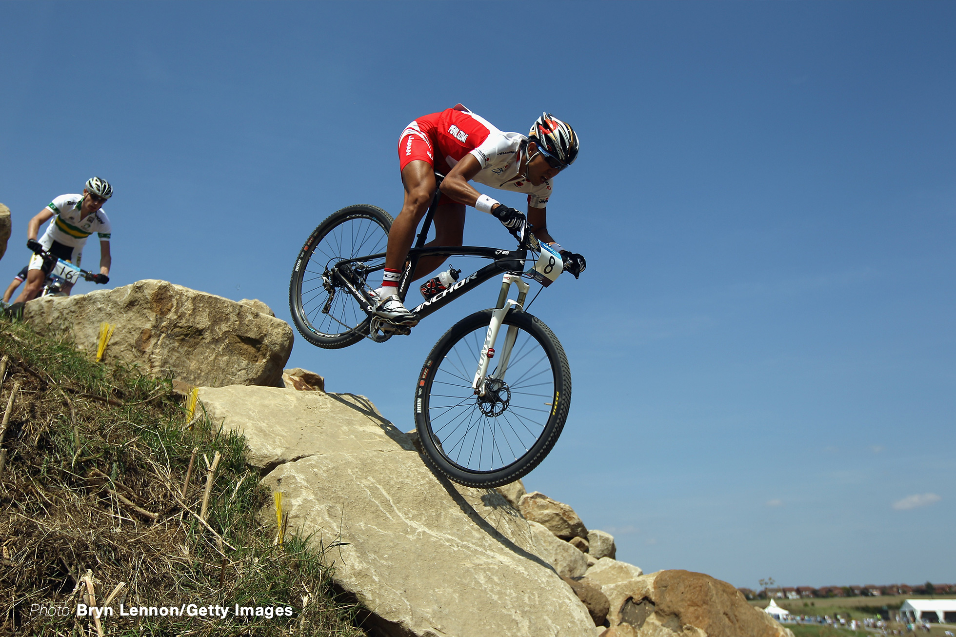 HADLEIGH, ENGLAND - JULY 31: Kohei Yamamoto of Japan in action in the LOCOG Men's Mountain Bike Test Event for London 2012 at Hadleigh Farm on July 31, 2011 in Hadleigh, England. (Photo by Bryn Lennon/Getty Images)
