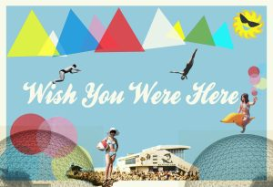 Wish You Were Here postcard by Alan Outram