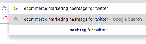 Find Twitter hashtag using google search box