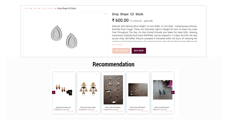 Recommendation Section in Ecommerce Store