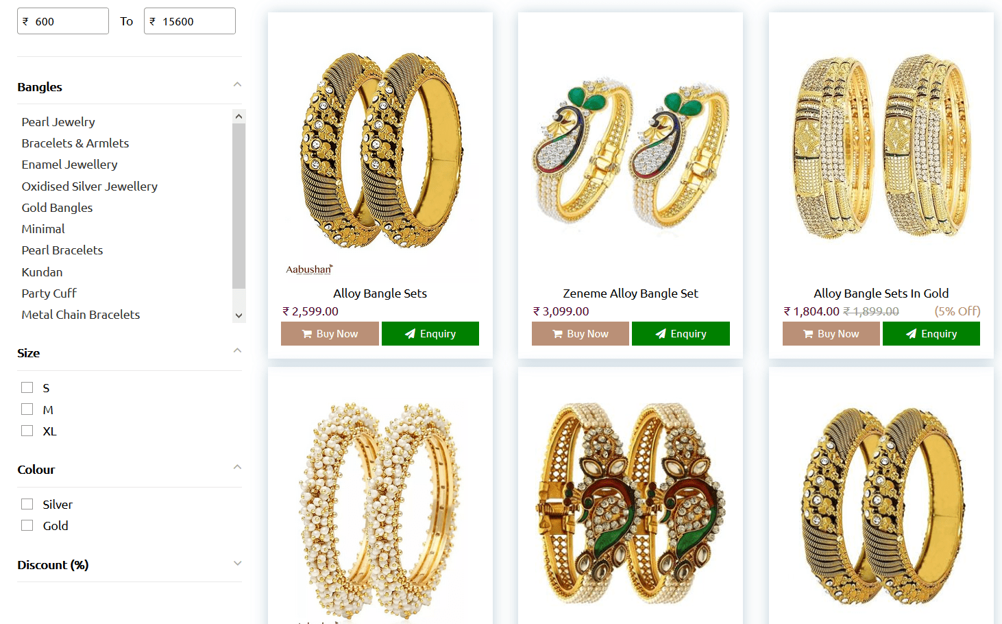 product filter on jewelry site