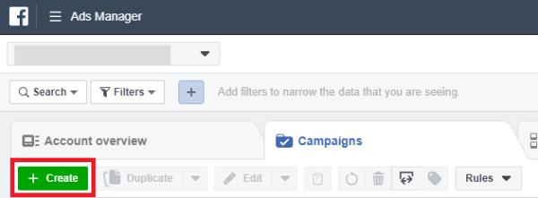 於 Facebook Ads Manager 中點解Create 以開始建立Campaign