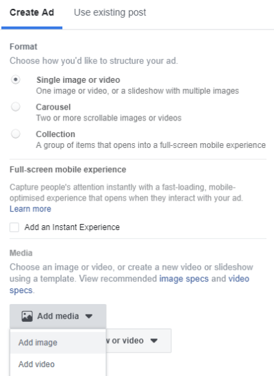 Add Media in Ads Manager
