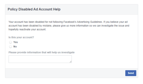 Facebook Disabled Ad Account Review Form