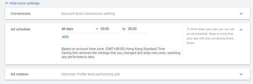 All time on Google Ad Schedule