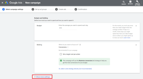 Click more settings in Google Ads set up