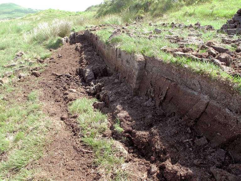 Layers of peat near Ardbeg