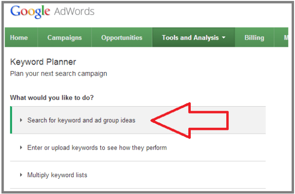 Image result for google keyword planner