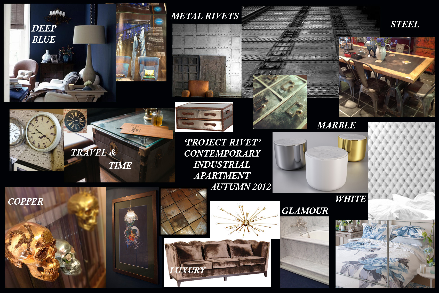 Mood & Ideas Board For A Glamorous Yet Industrial Interior