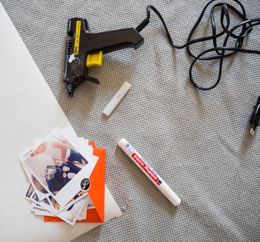 Klebepistole-Printic Polaroids-Kreidemarker-DIY