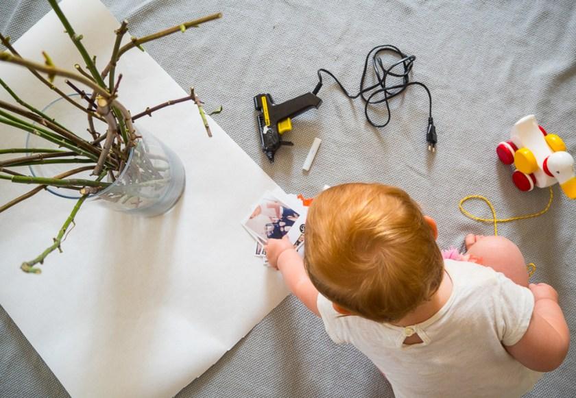 Klebepistole-Polaroids-BRIO Lauflernente-DIY