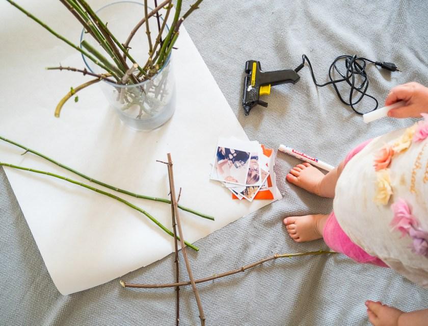 Äste-Klebepistole-Polaroids-Kreidemarker