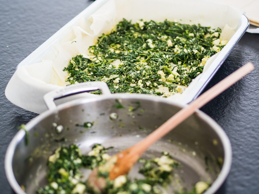 Börek Familienküche_Spinatschicht in Auflaufform