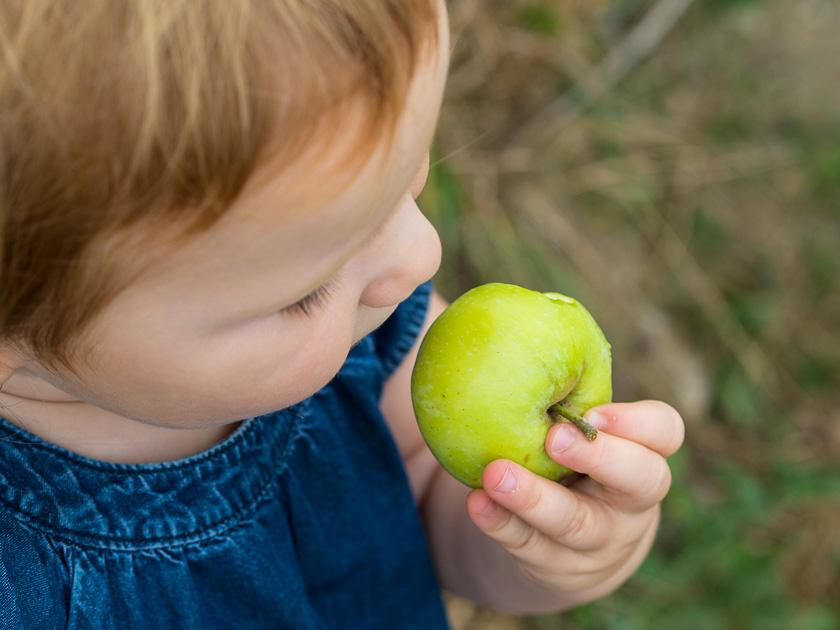 Landlofts von Sonnentor_Alma isst Apfel