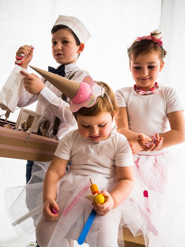 Familien-Faschings-Verkleidung_Eistüten Kopfschmuck