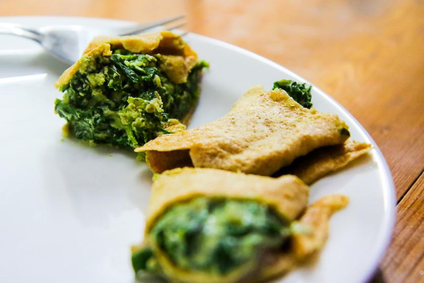 Kochevent Familienküche_Palatschinken mit Spinatfülle