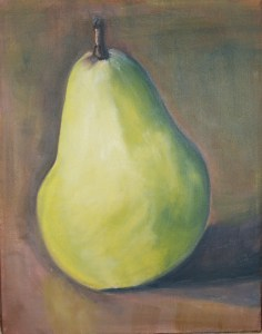 "Nov. 3 Green Pear - 11"" x 14"""