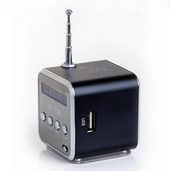 Портативный мини динамик алюминий сплав FM Радио поддержка SD карты USB флешка Черный