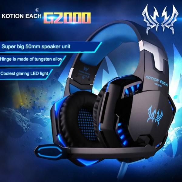 Kotion Each G2000  Компьютерные игровые наушники с микрофоном и подсветкой