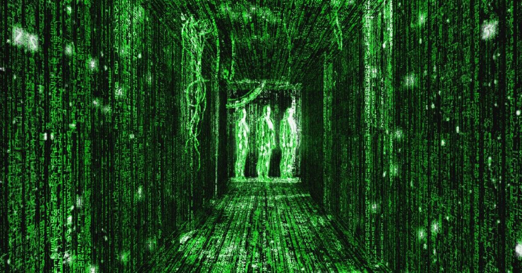 """Matrix corridor scene (three figures standing at the end of a long hallway; everything in sight is black with green binary code like the """"view"""" of a computer)"""
