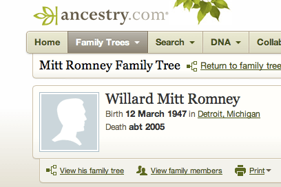LDS-owned Ancestry.com reports 2005 death of Mitt Romney