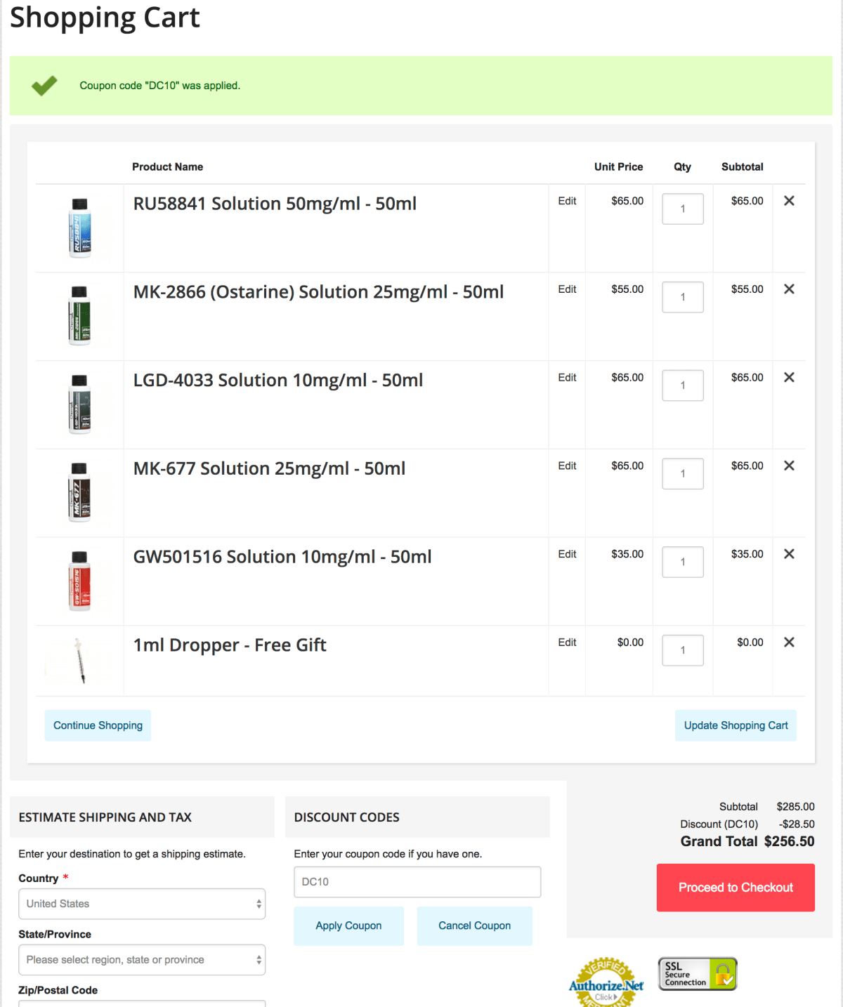 Chemyo checkout menu with 10 percent off coupon code DC10 applied